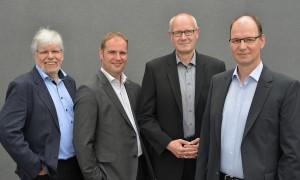 Alle Geschäftsführer der who Ingenieurgesellschaft mbH: Von links nach rechts: Detlef Thon (bis Juli 2016), Timo Hackbarth (seit August 2016), Andreas Banz, Henning Woock